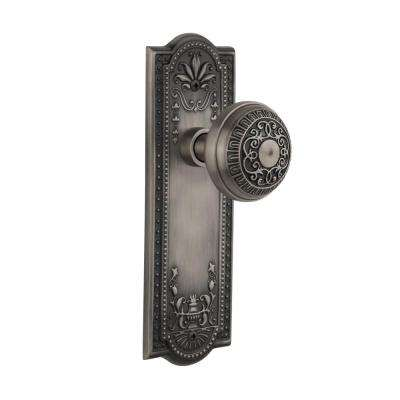 Meadows Plate 2-3/4 in. Backset Antique Pewter Egg and Dart Door Knob