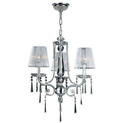 Orleans Collection 3-Light Polished Chrome and Crystal Chandelier