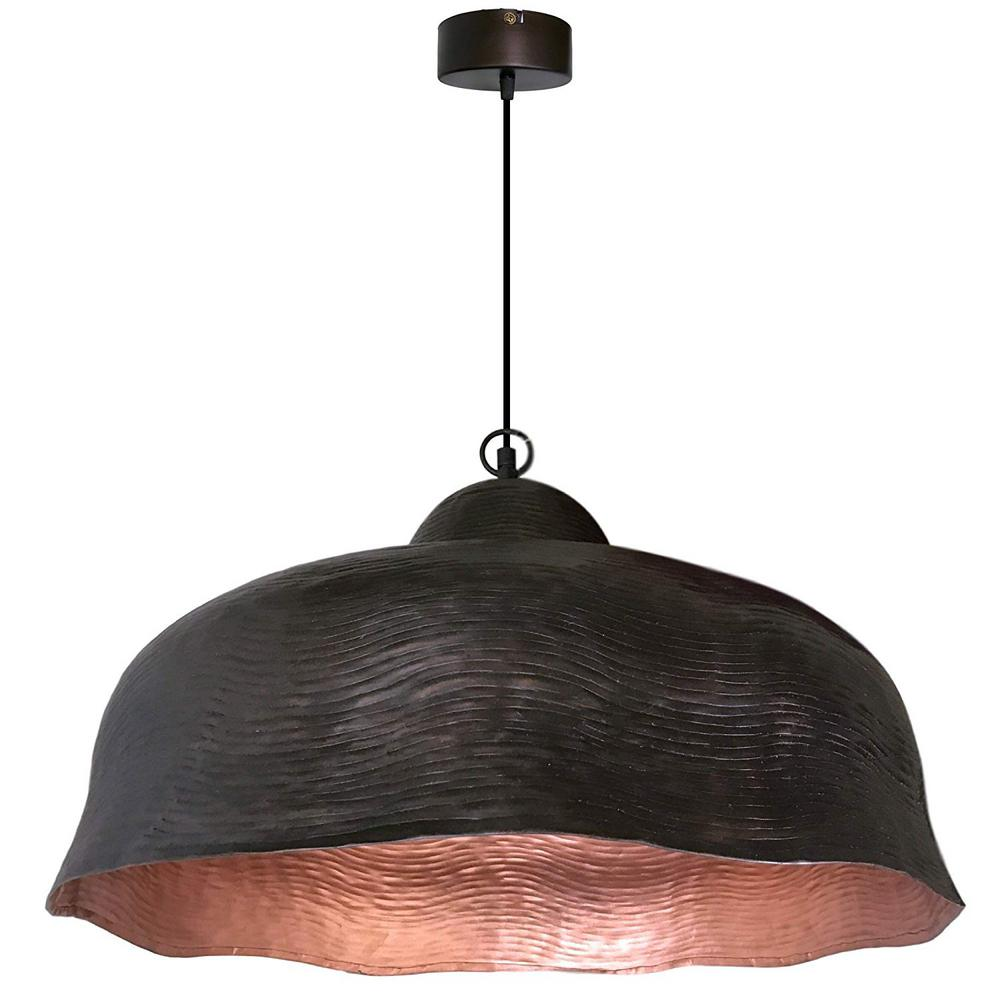 1-Light Dark Antique Brown and Copper Pendant with Dome Metal Shade