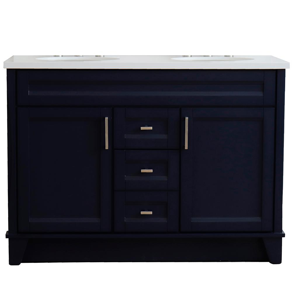 Bellaterra Home 49 in. W x 22 in. D Double Bath Vanity in Blue with Quartz Vanity Top in White with White Oval Basins