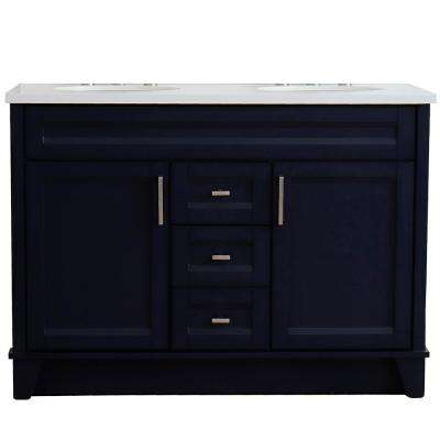 49 in. W x 22 in. D Double Bath Vanity in Blue with Quartz Vanity Top in White with White Oval Basins
