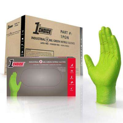 2X-Large Green Nitrile Industrial Powder-Free Disposable Gloves (4-Boxes of 100-Count)