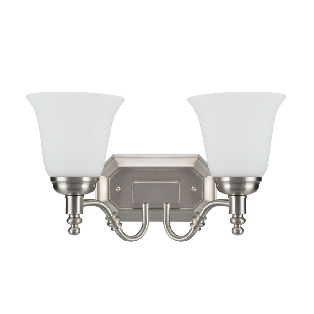 Aspen Creative Corporation 2-Light Satin Nickel Vanity Light with Frosted Glass Shade