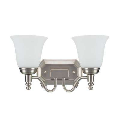 2-Light Satin Nickel Vanity Light with Frosted Glass Shade