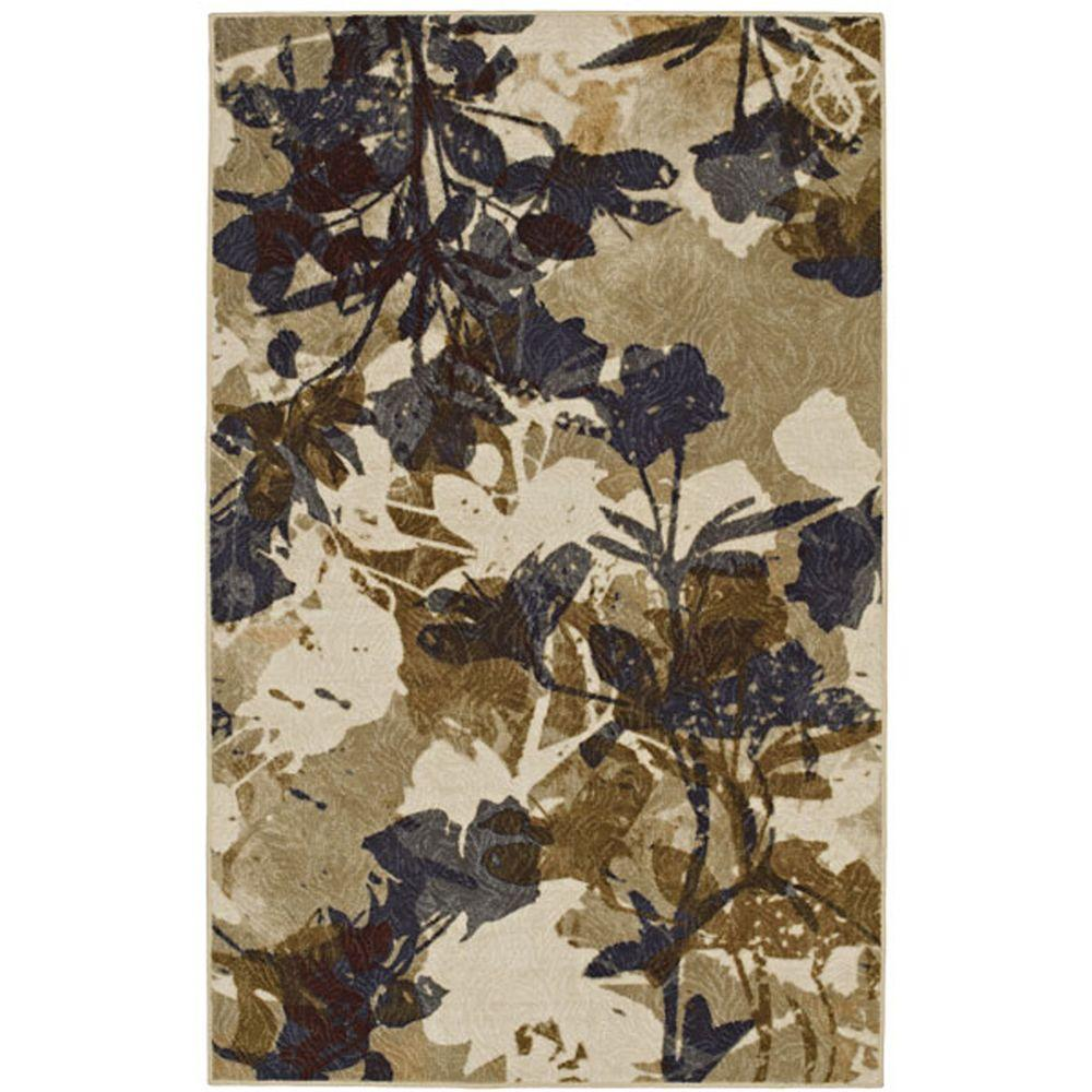 Mohawk Floral Silhouette Beige 5 ft. x 8 ft. Area rug