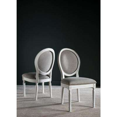 Holloway Light Gray/Cream 19 in. H French Brasserie Linen Oval Side Chair with Silver Nail Heads