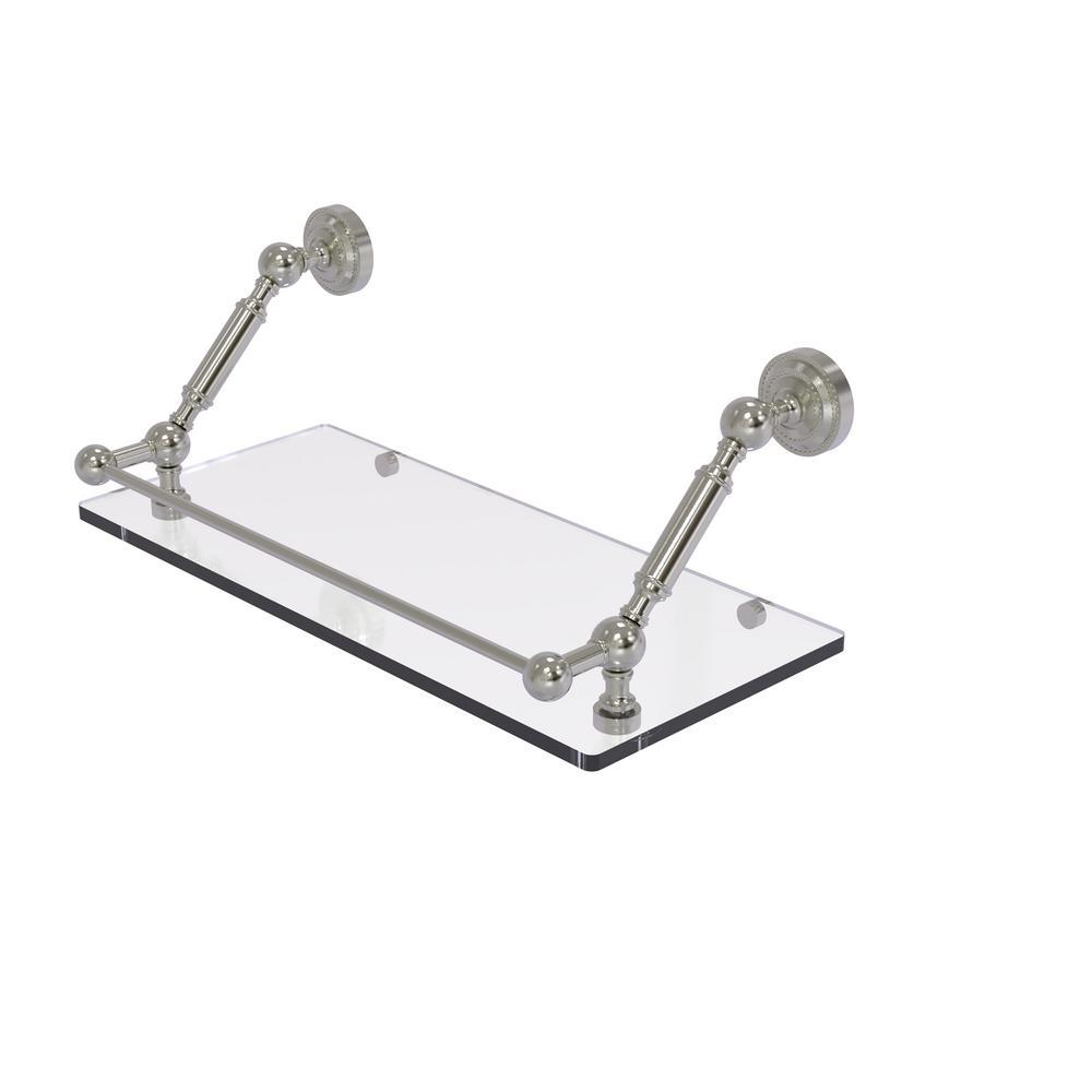 Dottingham 18 in. Floating Glass Shelf with Gallery Rail in Satin Nickel