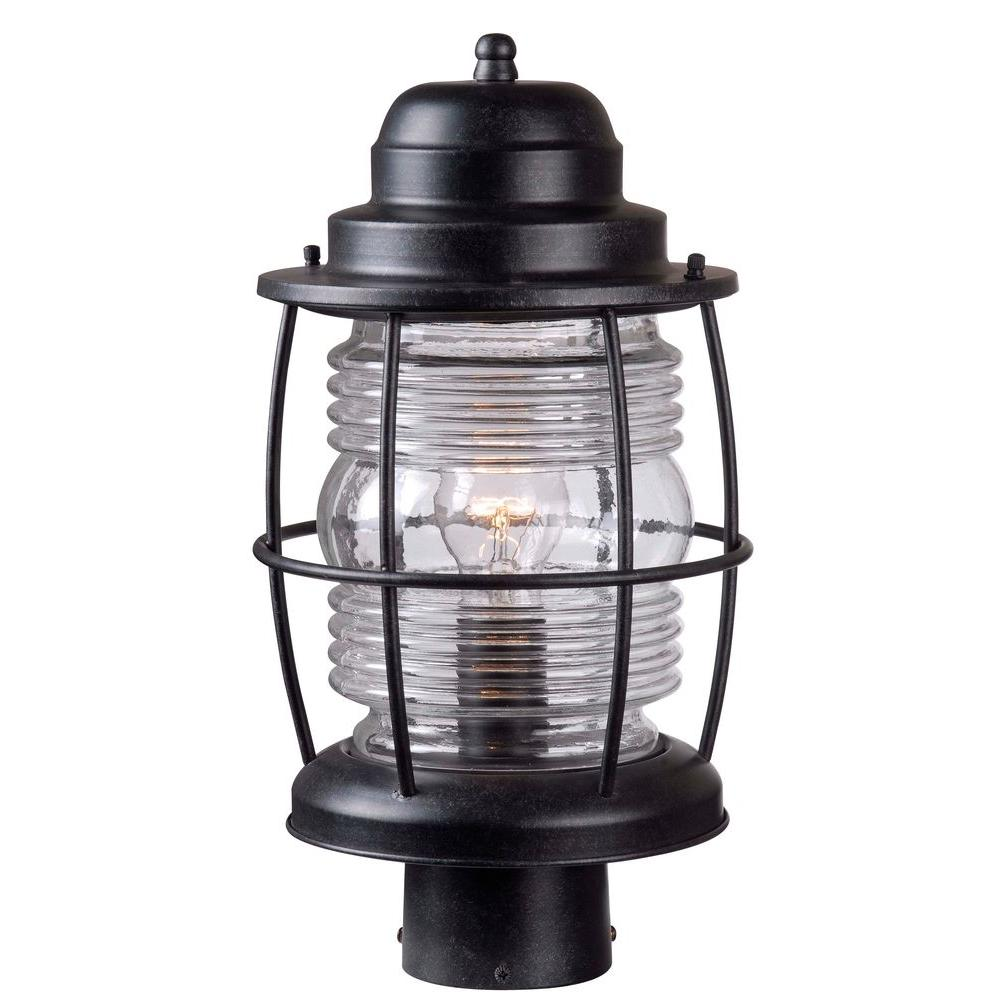 Kenroy Home Harbor 1-Light Outdoor Aged Iron Post Lantern