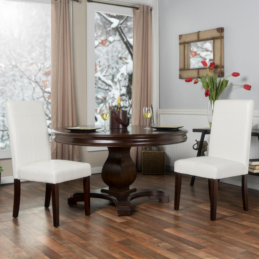 Berkley White Faux Leather Parsons Dining Chairs (Set of 2)