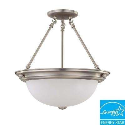 3-Light Brushed Nickel Fluorescent Semi-Flush Mount Light