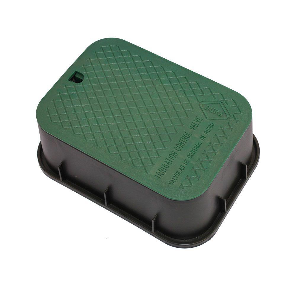 12 in. x 17 in. x 6 in. Deep Rectangular Valve Box in Black Body Green Lid