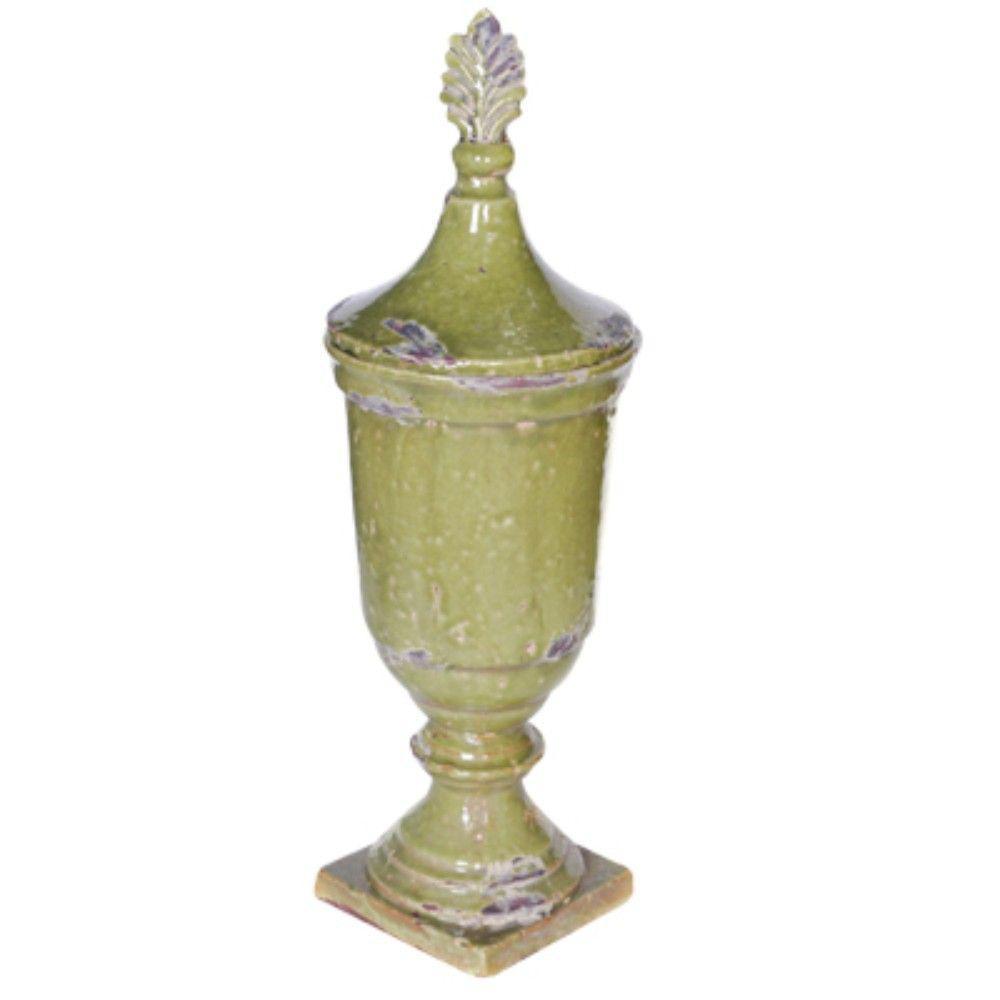 Artistic Green Ceramic Lidded Jar