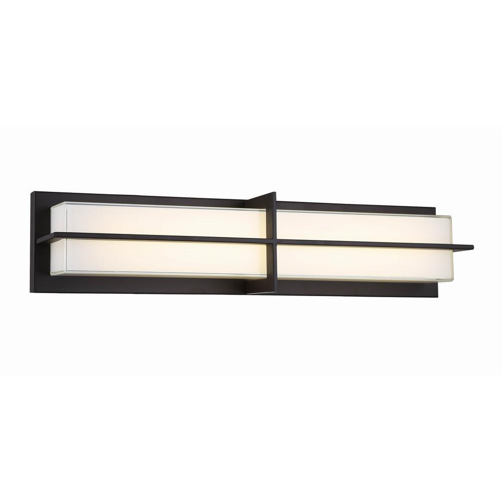 Home Decorators Collection 26 in. Aged Bronze 28-Watt Integrated LED Sconce with White Glass Shade
