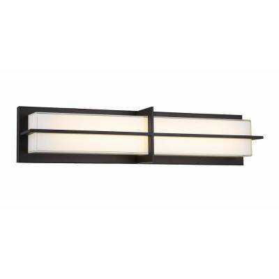 26 in. Aged Bronze 28-Watt Integrated LED Sconce with White Glass Shade
