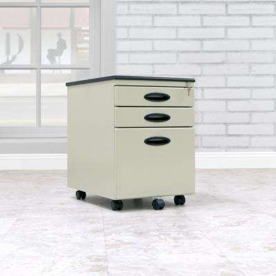 Letter / Legal 15.75 in. W x 22 in. D Putty Metal 3-Drawer Mobile File Cabinet with Lock and Key