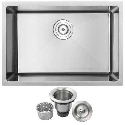 Arlo Undermount 18-Gauge Stainless Steel 26 in. Single Bowl Kitchen Sink with Basket Strainer