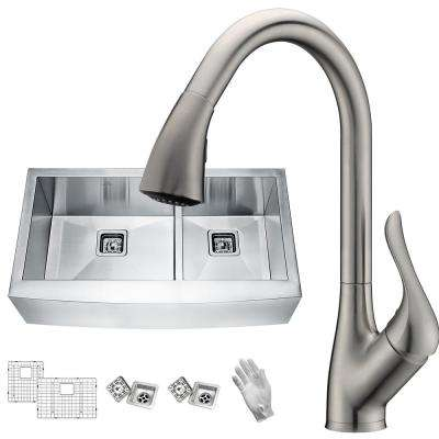 Elysian Farmhouse Stainless Steel 36 in. 60/40 Double Bowl Kitchen Sink with Faucet in Brushed Nickel