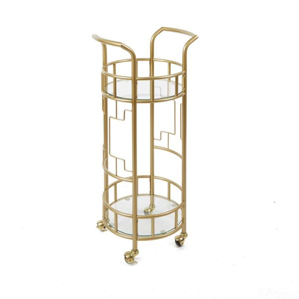 Silverwood Furniture Reimagined Jules Gold Geometric Bar Cart