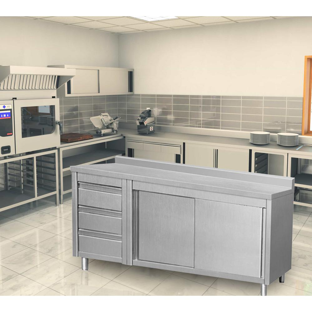 64 in. x 28 in. x 38 in. Stainless Steel Kitchen