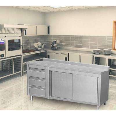64 in. x 28 in. x 38 in. Stainless Steel Kitchen Utility Table Sliding Door 3-Drawers Back Splash