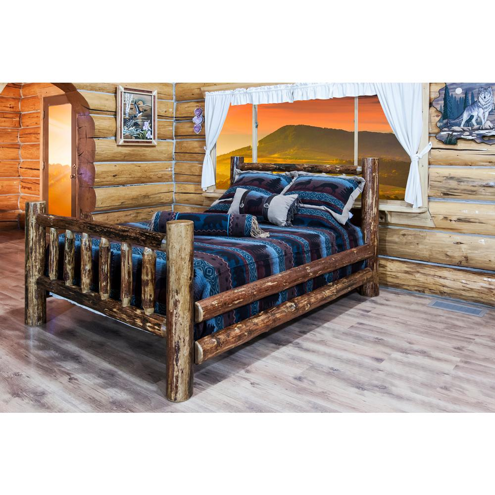 Glacier Country Medium Brown Puritan Pine Queen Bed Frame