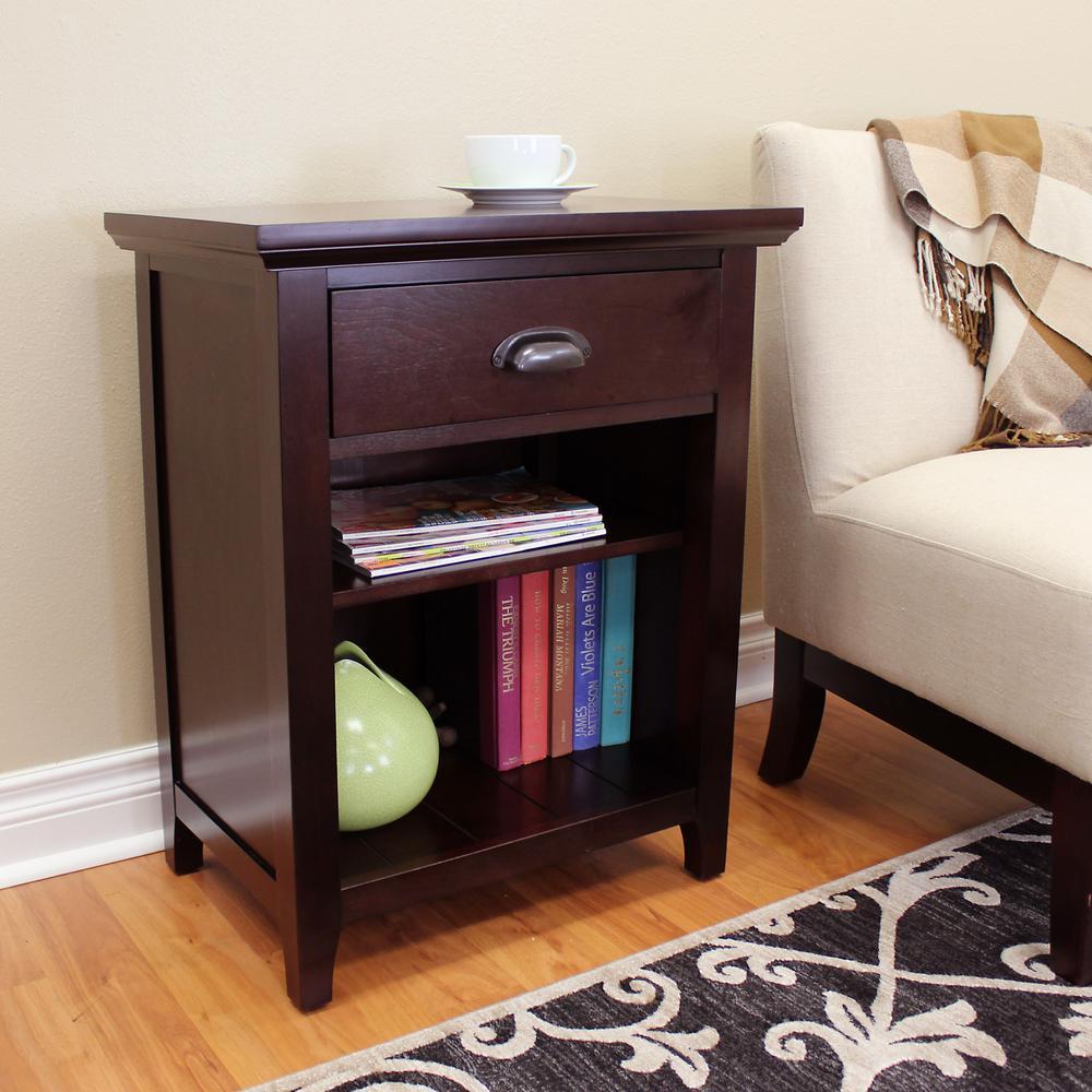 Lindendale 1-Drawer 2-Shelf Espresso Side Table