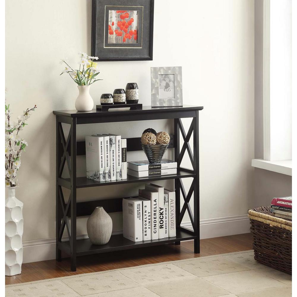 Oxford Black 3 Tier Bookcase