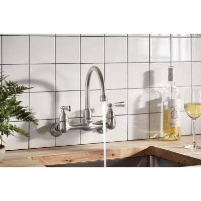 Elmhurst Two Handle Wall Mount Standard Kitchen Faucet in Stainless