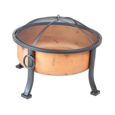 Lumina 26 in. x 26 in. Round Steel Wood Burning Fire Pit in Coppertone with Fire Tool