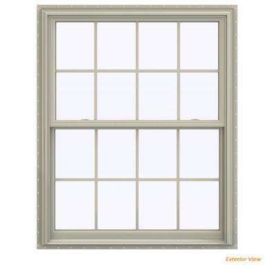 43.5 in. x 59.5 in. V-2500 Series Desert Sand Vinyl Double Hung Window with Colonial Grids/Grilles