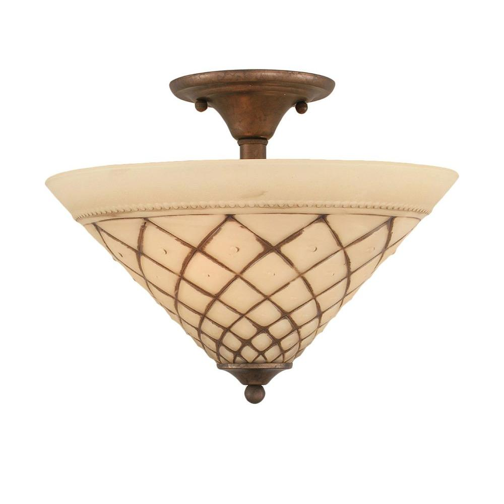 Concord 2-Light Bronze Incandescent Ceiling Semi-Flush Mount Light