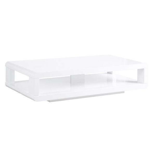 CASA 48 in. White Large Rectangle Wood Coffee Table with Shelf