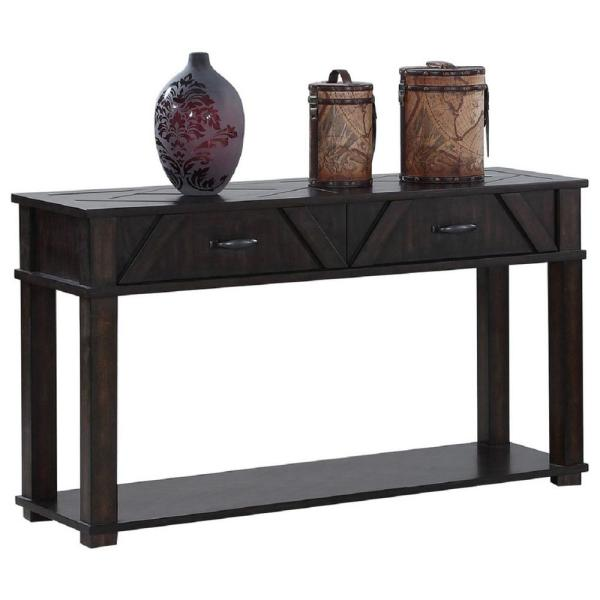Foxcroft 48 in. Dark Pine Standard Rectangle Wood Console Table with Drawers
