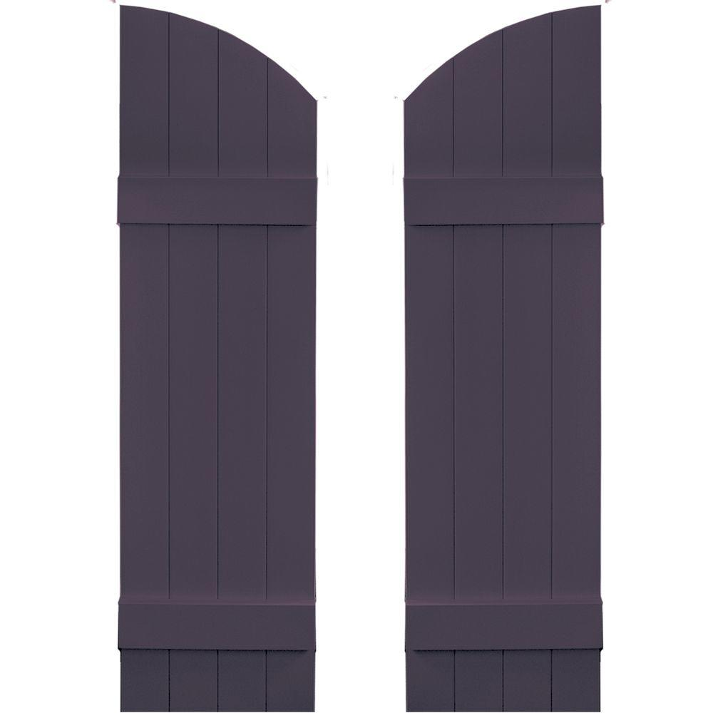 Builders Edge 14 in. x 45 in. Board-N-Batten Shutters Pair, 4 Boards Joined with Arch Top #285 Plum