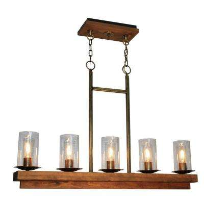 5-Light Burnished Brass Billiard Light