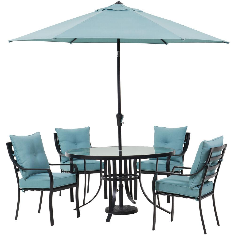 bd8eeeb5b8a1 Lavallette 5-Piece Steel Outdoor Dining Set with Ocean Blues Cushions,  Chairs, Glass-Top Table, Umbrella and Base