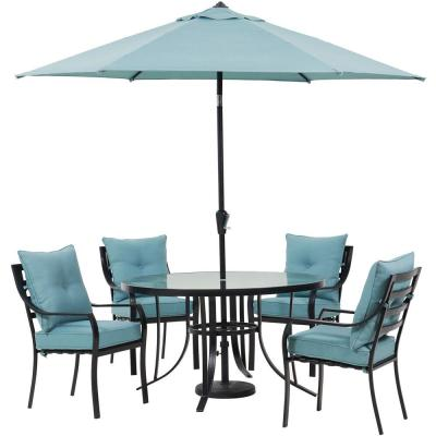 Lavallette 5-Piece Steel Outdoor Dining Set with Ocean Blues Cushions, Chairs, Glass-Top Table, Umbrella and Base