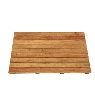 18 in. x 25 in. Bathroom Shower Mat in Natural Teak