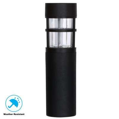 Solar Black Outdoor Integrated LED Landscape Caged Bollard with Water Glass Lens (6-Pack)