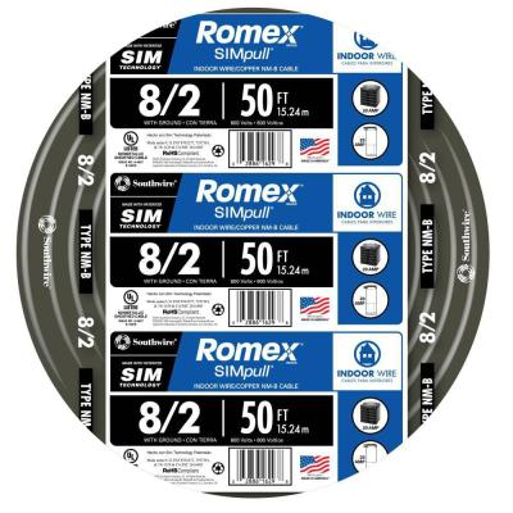 50 ft. 8/2 Stranded Romex SIMpull CU NM-B W/G Wire