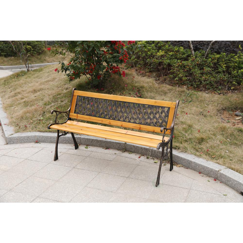 Wooden Benches Outdoor: Gardenised Gardenised Patio Garden Park Yard 49 In. Wooden