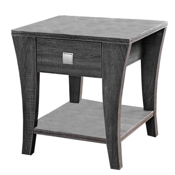 22 in. Height Gray Wooden End Table with Swooping Curled Legs