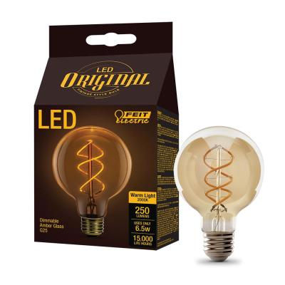40W Equivalent G25 Dimmable LED Amber Glass Vintage Edison Light Bulb With Spiral Filament Soft White