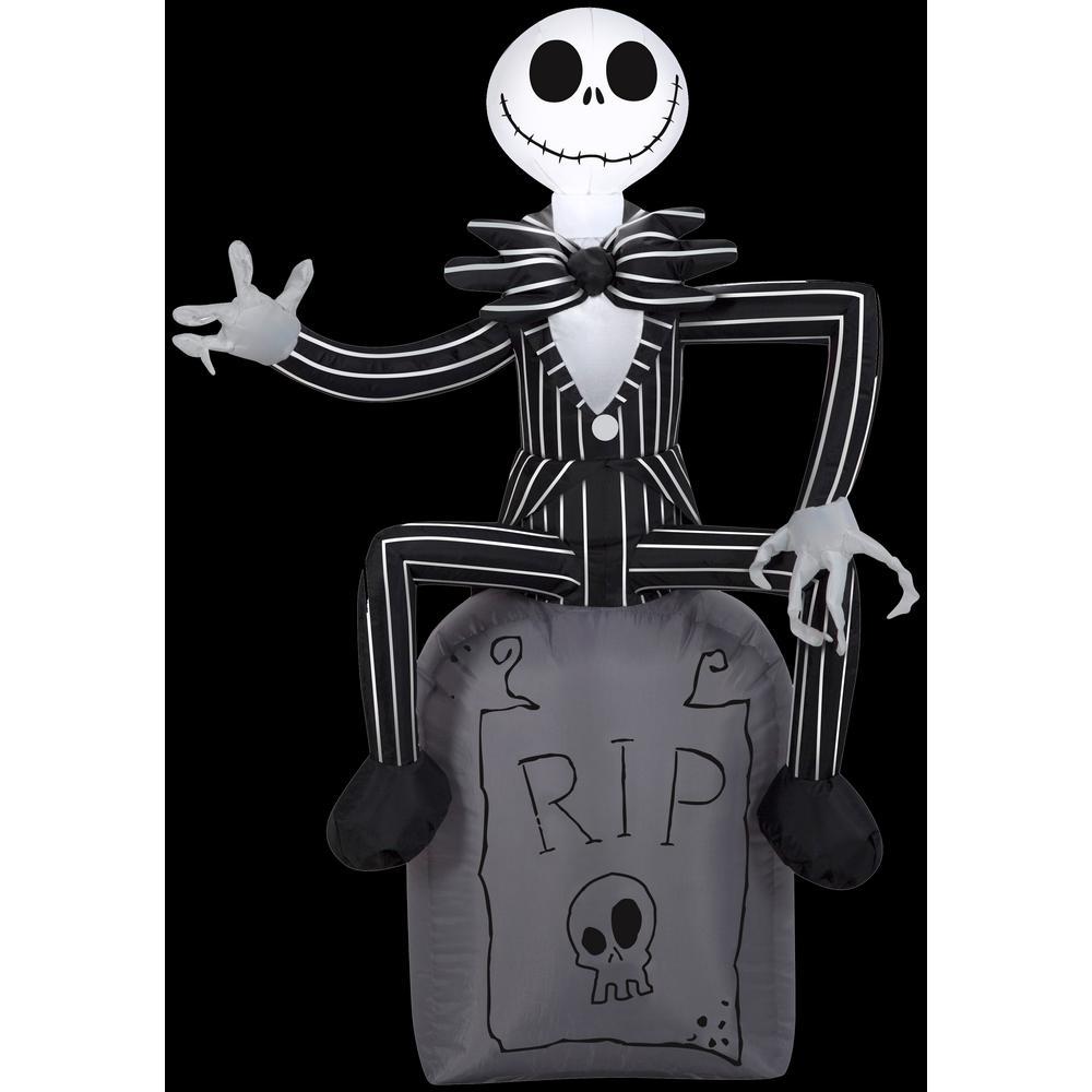 h inflatable disney jack skellington on tombstone