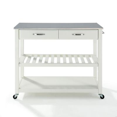 White Kitchen Cart with Stainless Top