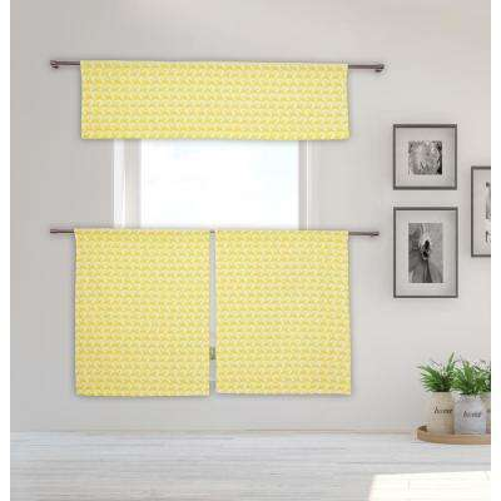 Lemona Kitchen Valance in Lemon Yellow - 15 in. W x 58 in. L (3-Piece)