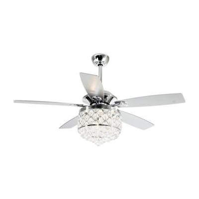Berkshire 52 in. Indoor Chrome Downrod Mount Crystal Chandelier Ceiling Fan With Light and Remote Control