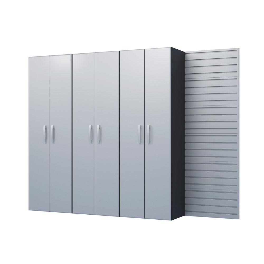 Flow Wall Modular Wall Mounted Garage Cabinet Storage Set In Silver