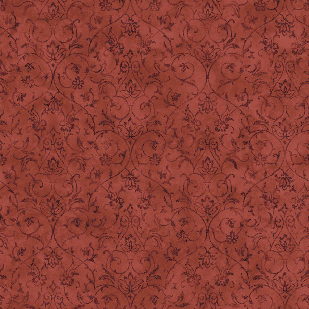 The Wallpaper Company 10 in. x 8 in. Red Jewel Tone Ironwork Scroll Wallpaper Sample-DISCONTINUED