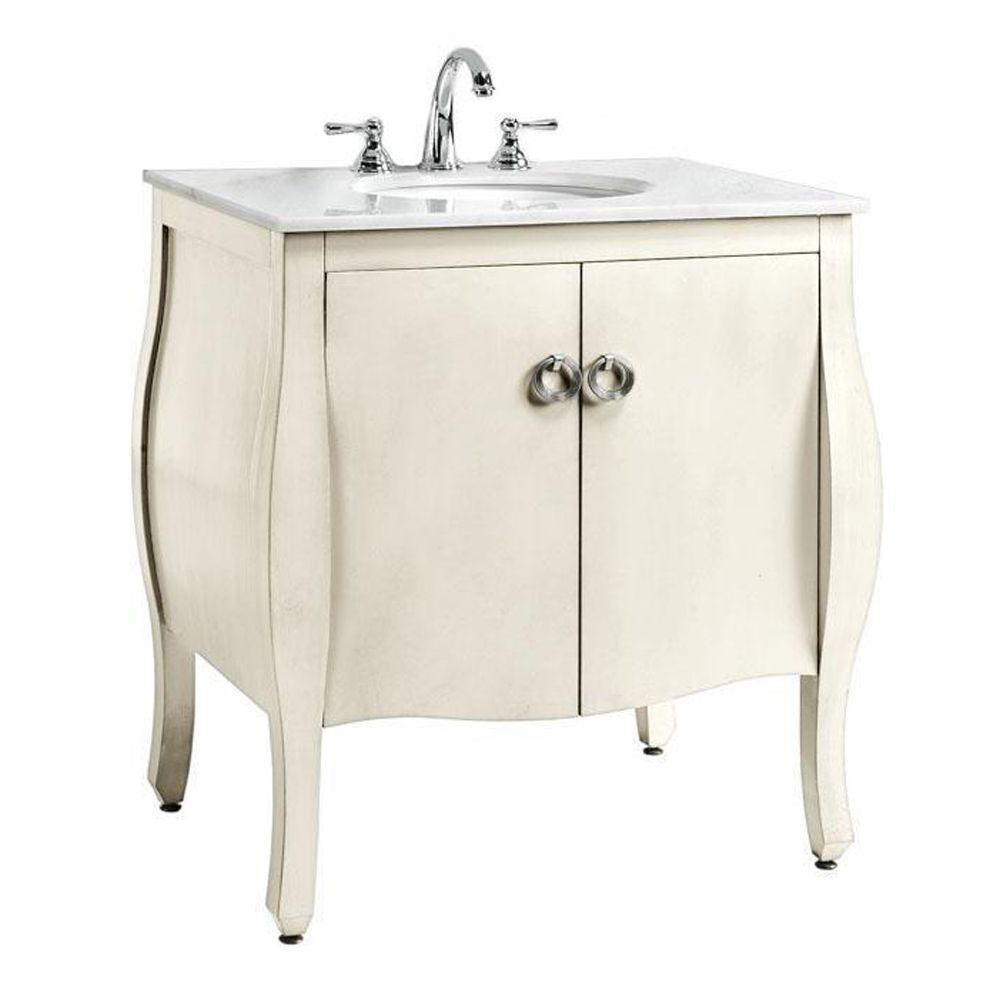 Home Decorators Collection Savoy 31 in. W x 22 in. D Bath Vanity in Ivory with Marble Vanity Top in White with White Sink